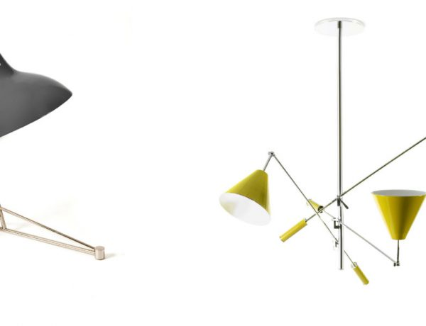 MOOD BOARD Mid-century Living Room Ideas in Cream Gold