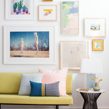 Can't go to the Museum? Get a Gallery wall in your Living Room! gallery wall Can't go to the Museum? Get a Gallery wall in your Living Room! Living Room Gallery Wall White Clean Pink Green Emily Henderson Etsy Framebridge Midcentury Modern 350x350