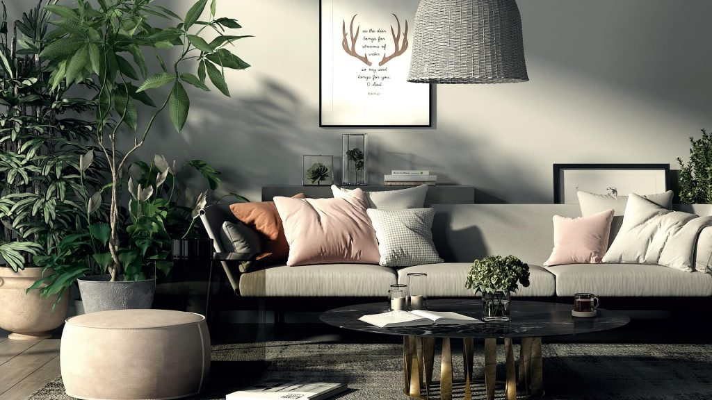 Boho Chic Living Room boho chic living room 5 Boho Chic Living Rooms that are ready for this Summer! NONAGON style n9s studio render of the week lixe living room boho eclectic rattan lampshade plants marble gray pink sofa 1024x576