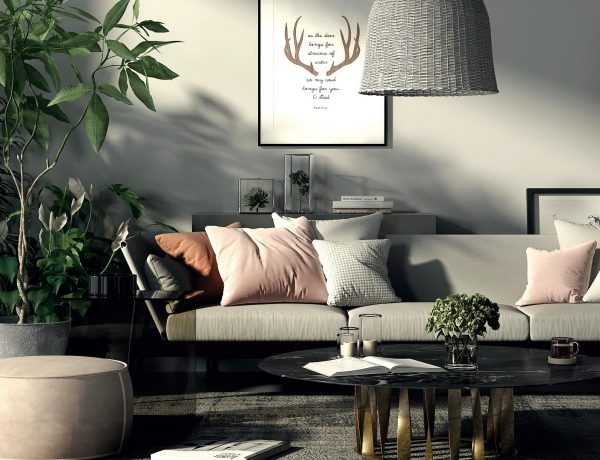5 Boho Chic Living Rooms that are ready for this Summer! boho chic living room 5 Boho Chic Living Rooms that are ready for this Summer! NONAGON style n9s studio render of the week lixe living room boho eclectic rattan lampshade plants marble gray pink sofa 600x460